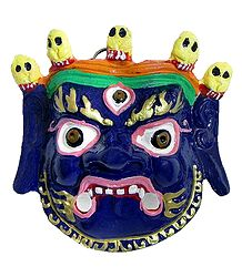 Wrathful Buddhist Deity Mahakala, the Protector of Dharma - Wall Hanging Mask
