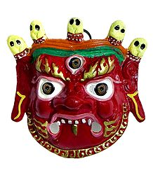 White Metal Wall Hanging Mahakala Mask for Decoration