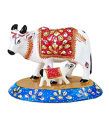 White Metal Cow with Calf