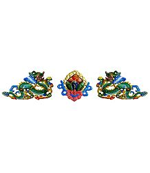 Set of 2 Dragon with Flower in the Middle - Wall Hanging