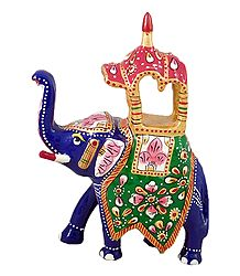 White Metal Multicolor Royal Elephant With Howdah