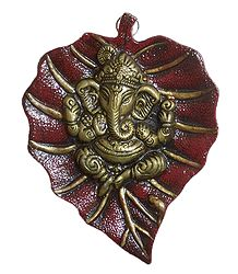 Ganesha on Maroon Leaf - Metal Sculpture