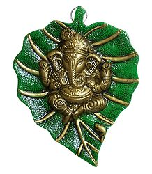 Ganesha on Green Leaf - Metal Sculpture