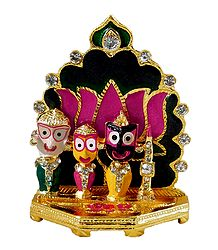 Jagannath, Balaram, Subhadra in Front of Lotus- For Car Dashboard