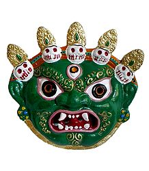 Wrathful Buddhist Deity Mahakala - Metal Mask