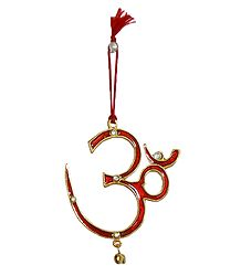 Red Lacquered Metal Om - Car Hanging
