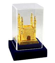 Golden White Metal Charminar - Encased in Acrylic Case