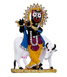 Jagannathdev as Krishna with Cow for Car Dashboard
