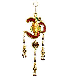 Ganesha on Om - Metal Wall Hanging