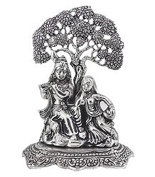 Radha Krishna Under Tree - White Metal Statue