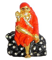 Stone Studded on Gold Plated Shirdi Sai Baba