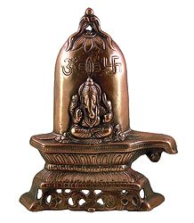 Ganesha on Shivalinga - Wall Hanging-Cum-Stand