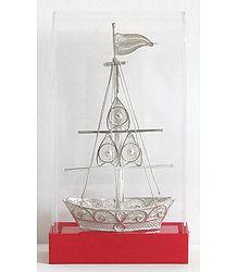 Silver Boat Encased in an  Acrylic Case