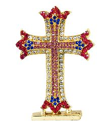 Stone Studded Metal Cross