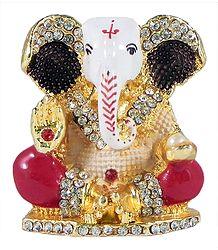 Buy Stone Studded Metal Ganesha for Car Dashboard