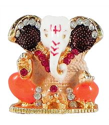 Stone Studded Metal Ganesha for Car Dashboard