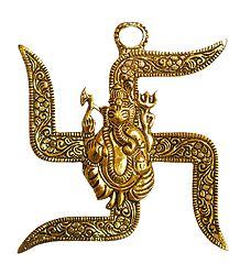 Ganesha on Swastik - Metal Wall Hanging
