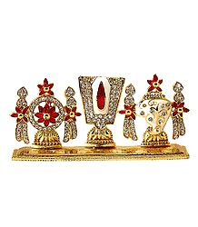 Stone Studded Symbol of Vishnu - For Car Dashboard