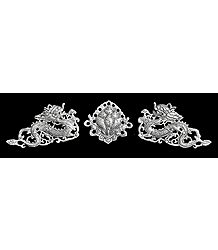 Set of 2 White Metal Dragon with Flower in the Middle - Wall Hanging