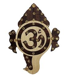 Hindu Symbol Om - Wood Sculpture