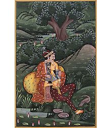 Emperor and His Love - Miniature Painting on Silk