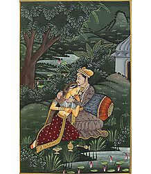 Emperor and his Beloved - Buy Miniature Painting on Silk