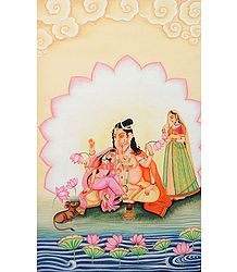 Ganesha with Riddhi and Siddhi - Painting on Canvas