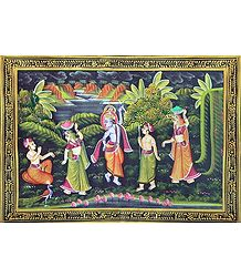 Krishna & Balaram with Gopinis - Miniature Painting