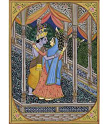 Radha Krishna in a Joyful Mood - Painting on Silk Cloth