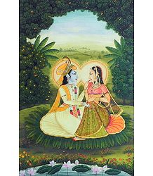 Rendezvous of Radha Krishna - Painting on Canvas