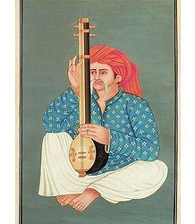 Rajput Musician - Miniature Painting on Canvas