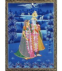 Radha Krishna - Miniature Painting on Silk