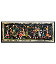 Procession with King and Queen - Miniature Painting