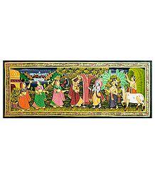 Krishna Breaking Milk Pot of Radha - Miniature Painting