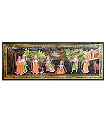 Radha Playing Flute in Front of Krishna