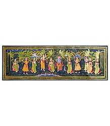 Radha Krishna with Friends - Miniature Painting