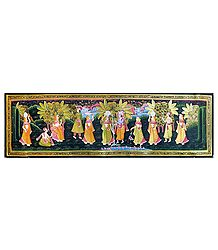 Krishna Breaking Milk Pot of Radha - Miniature Painting