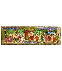 Radha Playing Flute - Miniature Painting on Silk