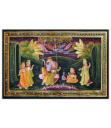 Radha Krishna on Swing - Miniature Painting on Silk