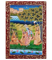 Radha Krishna on a Swing - Miniature Painting