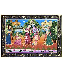 Radha Krishna with Gopinis - Miniature Painting