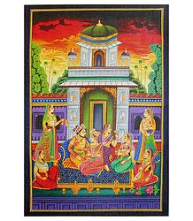 Mughal Royal Harem - Screen Print on Canvas