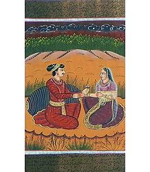 King and Queen - Miniature Painting on Silk