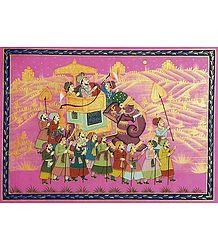 Mughal Procession - Miniature Painting on Silk