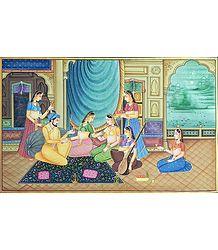 Mughal Royal Harem - Painting on Silk