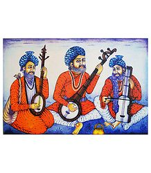 Rajasthani Musicians - Screen Print on Canvas