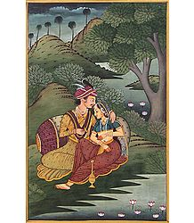 Prince with Courtesan - Miniature Painting on Silk