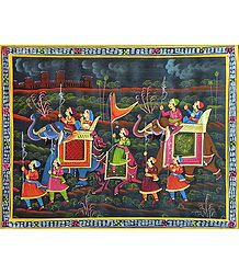 Royal Ride - Buy Online Miniature Painting on Silk