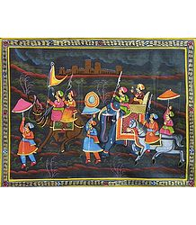 King Riding on Elephant - Miniature Painting on Silk