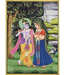 Radha Krishna - Miniature Painting on Silk